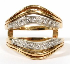 14 Kt Gold And Diamond Guard Ring