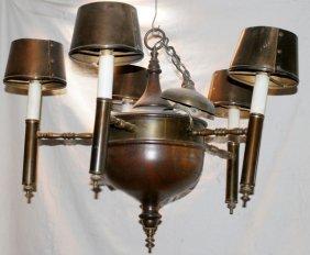 Five-light Wood And Gilt Metal Chandelier