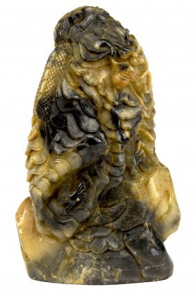 Large Soapstone Dragon Carved Seal, 19th Century