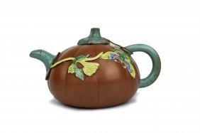 Pumpkin Shaped Yixing Pottery Teapot, 19th Century