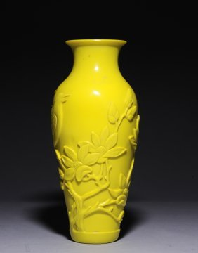 Yellow Peking Glass Vase W/ Bird And Flowers