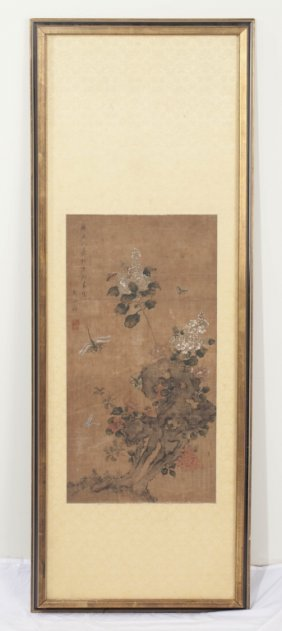 Flowers & Insects, Ink & Color On Silk, 19th Cent.