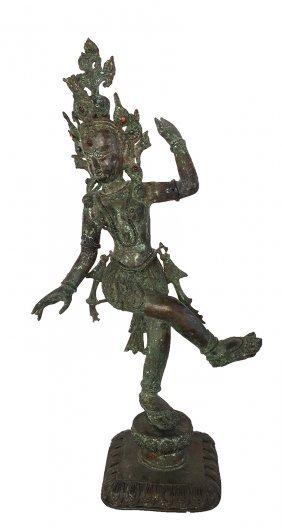 Bronze Devi Thai Dancing Goddess Statue