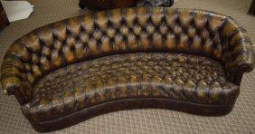 Barrel Back Worn Leather Club Sofa