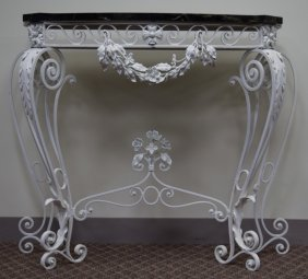Painted Wrought Iron & Black Marble Table