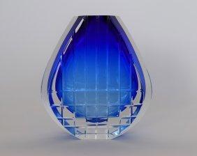 Baccarat Cobalt Blue Art Glass Vase