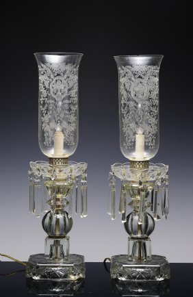 Pair Of Victorian Etched Boudoir Lamps