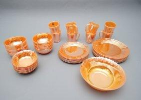 (33) Piece Peach Fire-king Lusterware Set