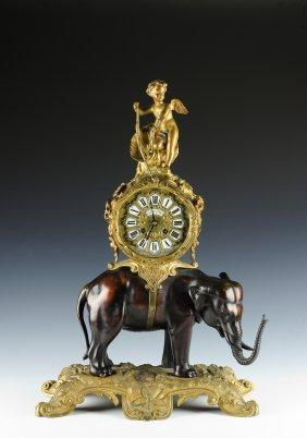 Leroy Elephant & Cupid Ormolu Clock, 1780 France
