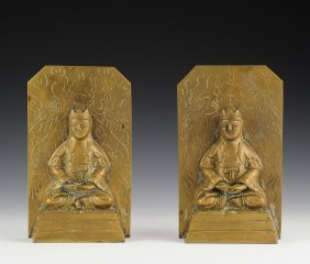 Pair Of Brass Plated Buddha Bookends