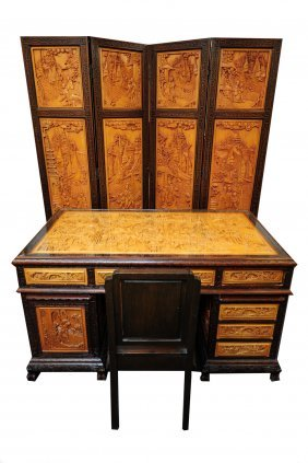 Asian Style Carved Desk, Screen, & Chair C.1970s