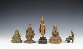 Five Bronze Asian Figurines