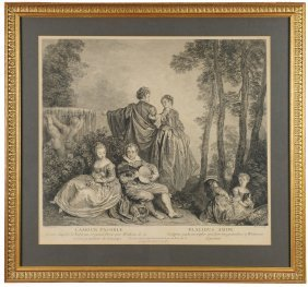 """l'amour Paisible - Placidus Amor"" Etching 18th C."