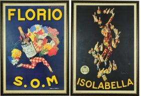 Pair Of Framed French Wine Advertisement Posters