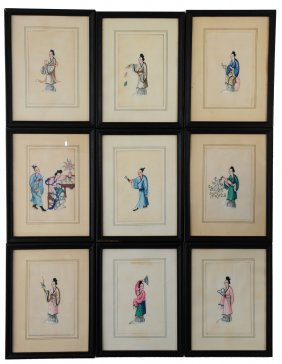 (9) Rice Paper Paintings Of Ladies
