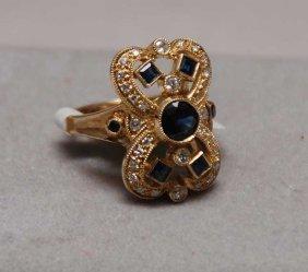 Sapphire And Diamond Ring Center 5mm Blue Sapphir