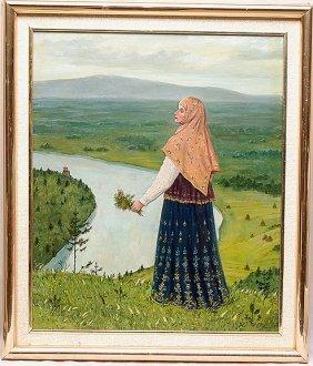 Ukrainian Russian 20th Century Oil Painting Girl