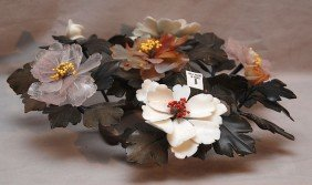 Centerpiece Variety Of Hard Stone Flowers & Leaves,