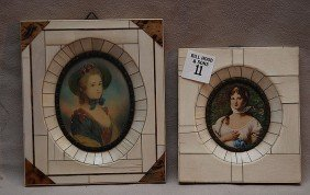 """2 Hand Painted Oval Portraits In Ivory Frames, 6"""" X"""