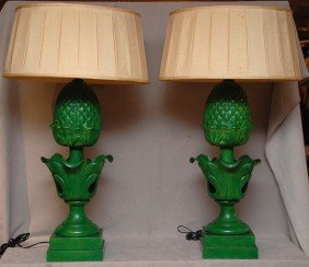 Pair Of 20th C. Green Tole Pineapple Form Lamps, 33