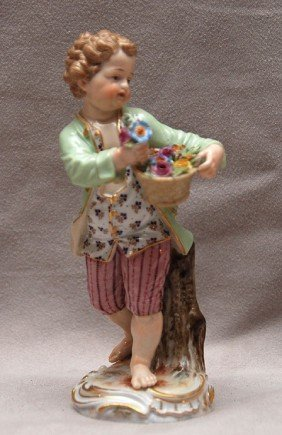 Meissen Lad Carrying A Bowl Of Roses, Tiny Losses