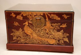 Chinese Lacquered And Hand Painted Trunk On Wheels