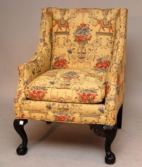 19th C. English Chair Upholstered With Elephants A