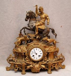"Antique Gilt Metal Figural Clock, 19""h"