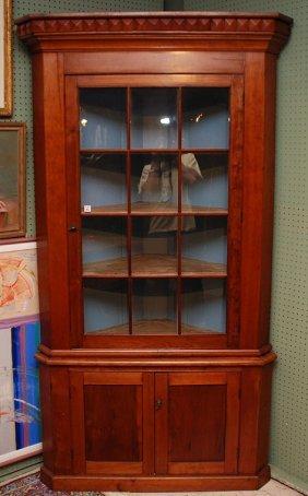 American Cherry Corner Cupboard, 12 Panes Over 2 Do
