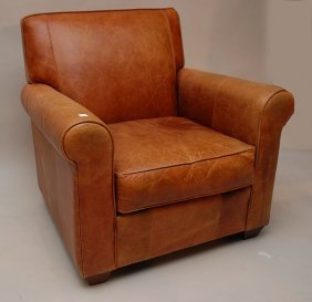 Brown Leather, Nicely Worn Arm Chair