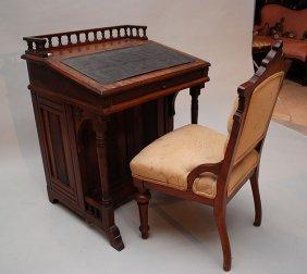 Davenport And Chair, 19th C, Birds Eye Maple Desk
