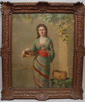 Charles De Naeyer (BELGIAN, ) Oil On Canvas, Lady W
