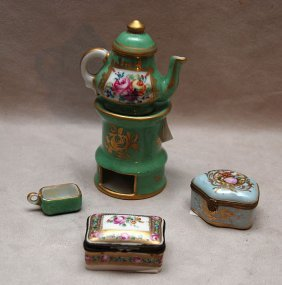 Miniature Limoges Teapot On Stand And 2 Porcelain