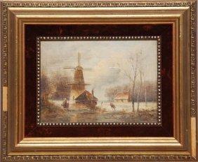 19th Century Dutch School, Oil On Oak Panel, Windmi