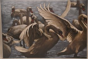 Large 20th C. Swans Painting Oil On Canvas Signed