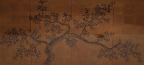 19th Century Chinese 4 Part Folding Screen, Framed