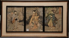 19th Century Japanese Triptych Framed Individually