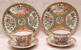 "2 Rose Medallion Plates (8 1/2""dia) And 2 Tea Cups &"