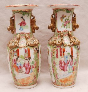 Pair Rose Medallion Vases With Gilded Accents  Lion