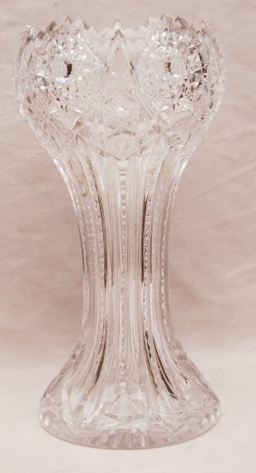"Oversized Cut Glass Vase, 14""h"