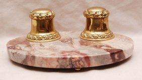 Ink Well Stand; 2 Brass Wells On Footed Marble Stan