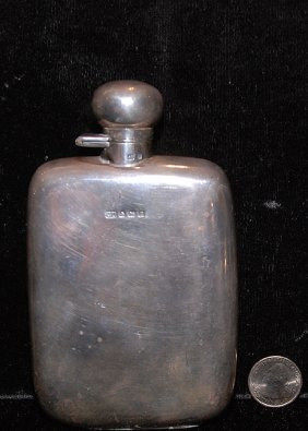 "Antique English Silver (Hallmarked) Flask  6""  5.75oz."