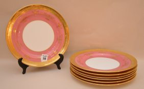 7 Caldwell & Co. Dinner Plates, Pink With Gold Accents,