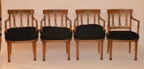 4 Fruitwood Carved Armchairs With Black Cushion Seats