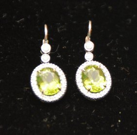 Peridot And Diamond Earrings, 18kt White Gold