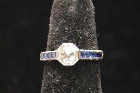 Mine Cut Diamond And Sapphire Ladies Ring, 18kt White