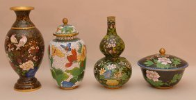 Lot 4 Pieces Of Assorted Cloisonné. Tallest Vase Ht. 8