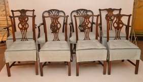 6 Matching Mahogany Chippendale Style Dining Chairs And