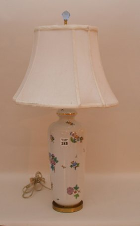 "Herend Porcelain ""queen Victoria"" Porcelain Lamp. Ht."