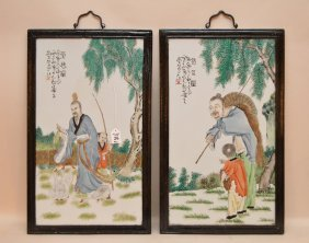 Pair Of Chinese Porcelain Plaques In Good Condition. 22